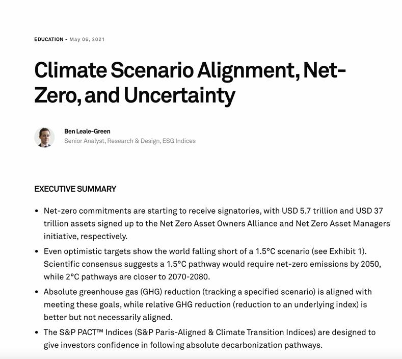 Climate Scenario Alignment, Net-Zero, and Uncertainty