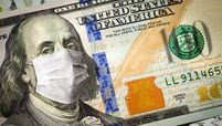 $100 bill with medical face mask on Ben Franklin