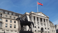 The Bank of England is watched over by a statue of the Duke of Wellington seated on his horse