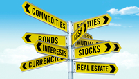 Directional signs respresenting types of traditional and alternative investments