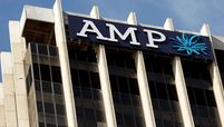 The logo of AMP Ltd. atop the company's headquarters in Sydney