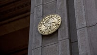 A seal is displayed outside the Central Bank of Chile in downtown Santiago