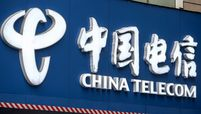 A sign at a China Telecom Corp. store in Shanghai on Jan. 6, 2021