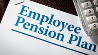 'Employee Pension Plan' on note pad with calculator