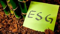 Sticky note with ESG written on it in soil near plant roots