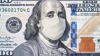 100 dollar bill with benjamin franklin wearing a medical mask