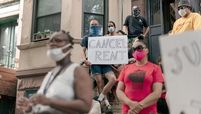 Housing activists protest alleged tenant harassment by a landlord and call for cancellation of rent in Brooklyn.