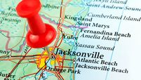 Partial map of Florida, highlighting Jacksonville with push pin