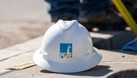 A Pacific Gas & Electric Corp. hard hat at a job site in San Francisco on Feb. 24, 2021