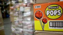 A case of Tootsie Roll Industries Inc. Pops Halloween candy is pictured before being distributed to stores at the Associated Wholesale Grocers distribution warehouse in Goodlettsville, Tenn., on Aug. 14, 2015