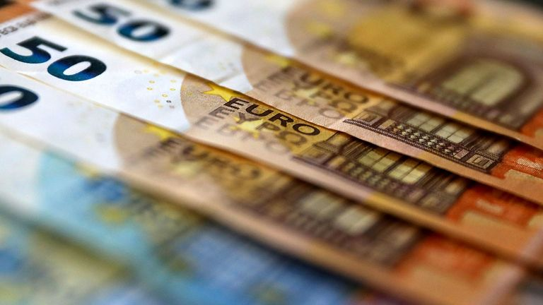 A group of 50 Euro banknotes
