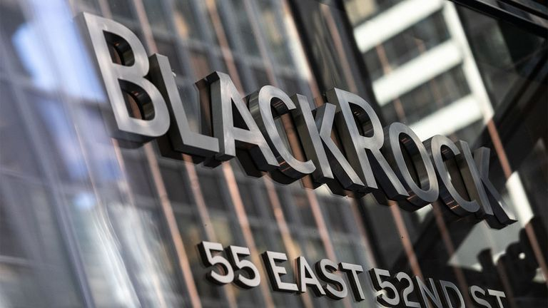 Signage is displayed at the entrance to BlackRock headquarters in New York