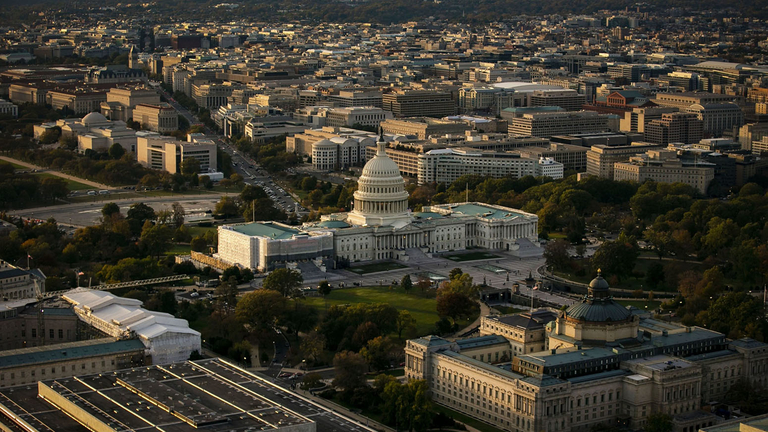 The U.S. Capitol and Library of Congress stand in this aerial photograph taken above Washington