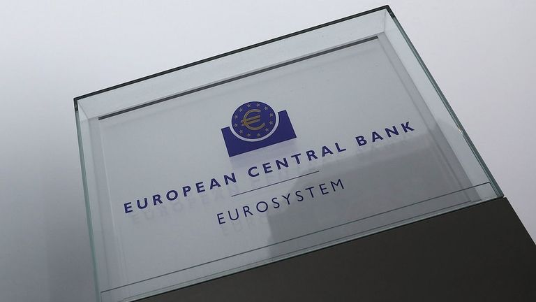 A Eurosystem monetary authority sign outside the European Central Bank headquarters in Frankfurt on March 7, 2019