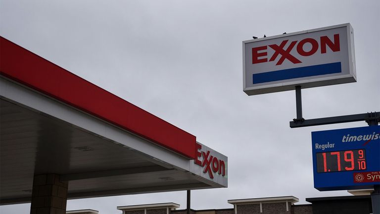 A sign at an Exxon Mobil Corp. gas station in Houston