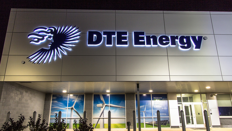 Exterior of Detroit Edison DTE Energy Corp. which supplies electrical utilities to Southeast Michigan