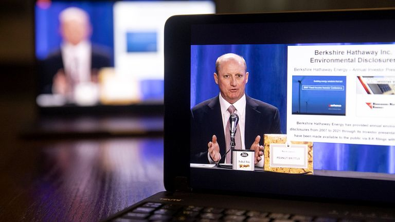 Greg Abel, chairman of Berkshire Hathaway Energy Co., speaks during the virtual Berkshire Hathaway annual shareholders meeting on a tablet computer