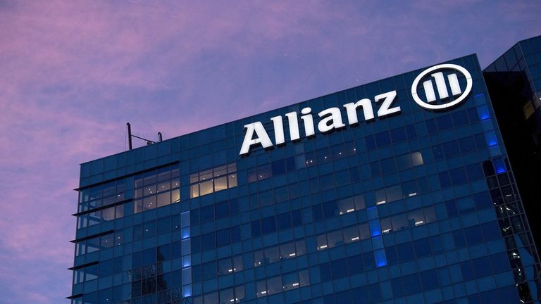 The Allianz logo on the side of building