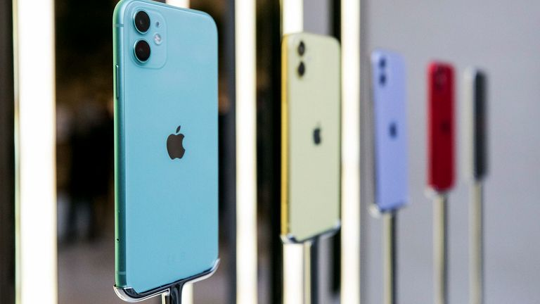 Different colored Apple Inc. iPhone 11 smartphones stand on display inside the Regent Street Apple store during a product launch event in London on Sept. 20, 2019.