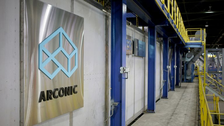 Signage is displayed in the cooling area of the Arconic Inc. manufacturing facility in Alcoa, Tenn.