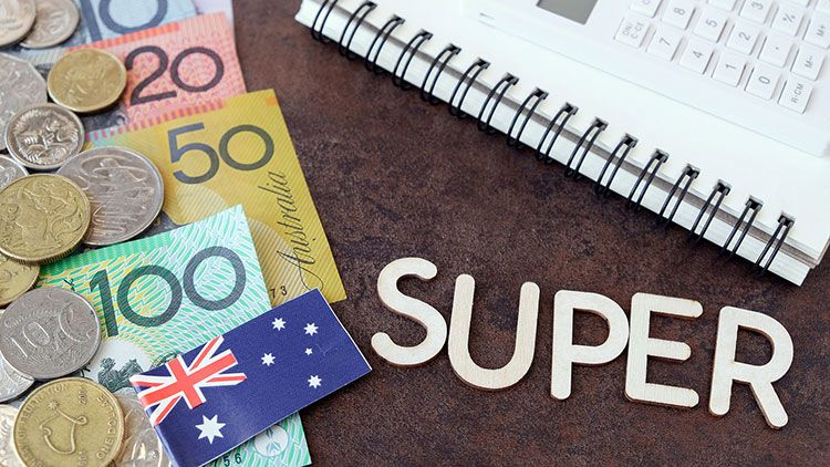 Australia currency, coins and flag with a notebook and calculator and the word 'Super' spelledo out
