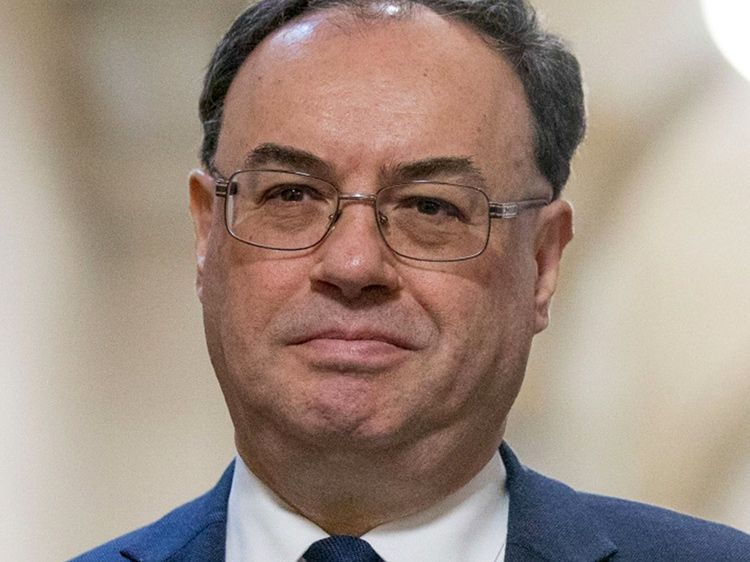 Andrew Bailey, governor of the Bank of England, poses for a photograph on his first day in the post at the central bank in the City of London on March 16, 2020