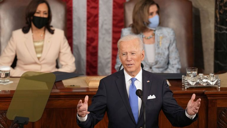 President Joe Biden in his first address to a joint session of Congress on April 28.