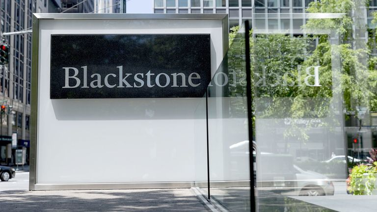 Signage outside the Blackstone Group Inc. headquarters in New York on July 13, 2019