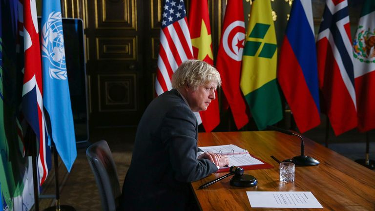 Boris Johnson, U.K. prime minister, hosts the U.N. Security Council's virtual meeting on climate change risks in London on Feb. 23, 2021