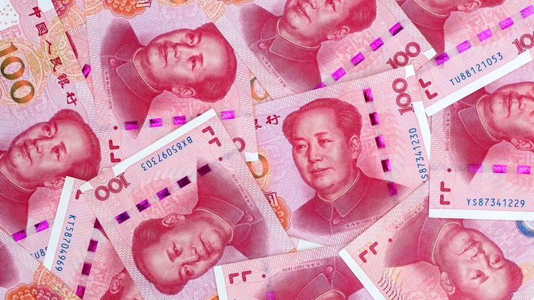 Chinese yuan banknotes as currency peg