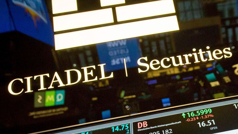 Citadel Securities stock information is shown on an electronic screen at the New York Stock Exchange