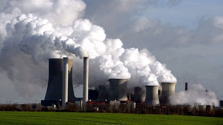 Emissions rise from smokestacks at a coal-fired power plant in Germany