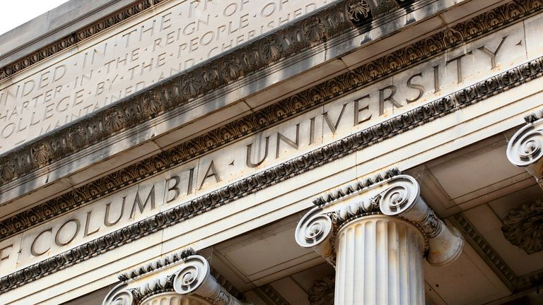 Columbia University inscribed on the Low Memorial Library facade at New York City's Columbia University