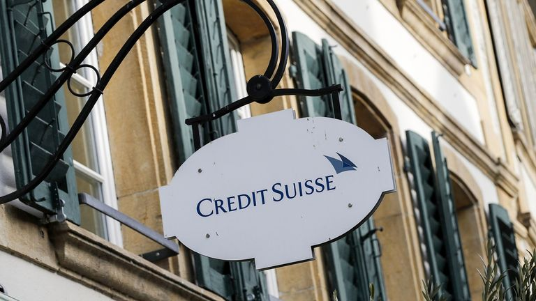 A sign outside a Credit Suisse Group bank branch in Murten, Switzerland