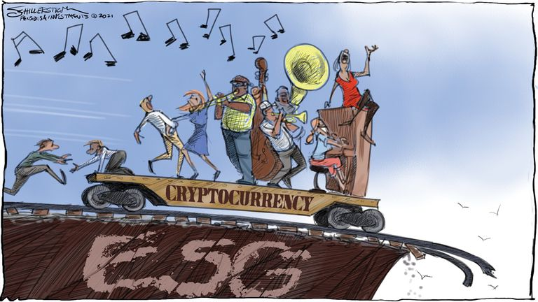 Cryptocurrency cartoon