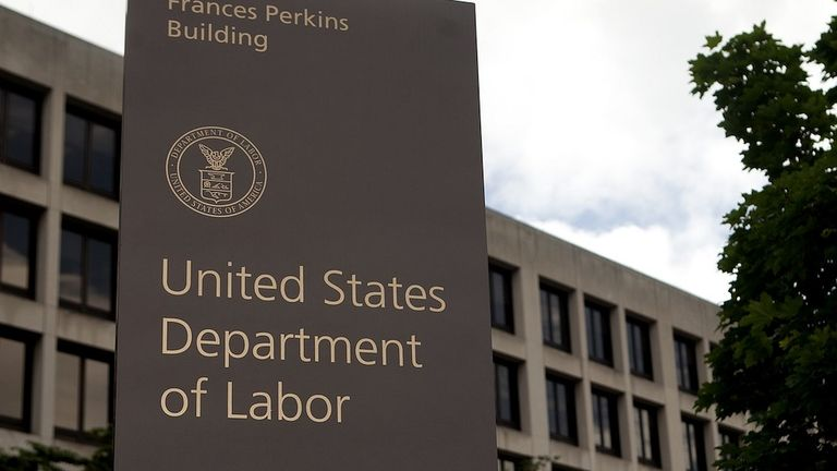 Sign for the Department of Labor in Washington
