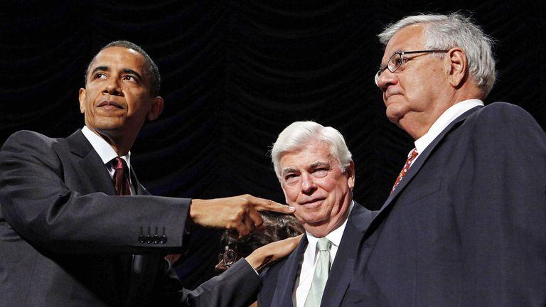 Barack Obama, Christopher Dodd and Barney Frank