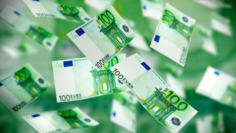 Flying 100 euro banknotes