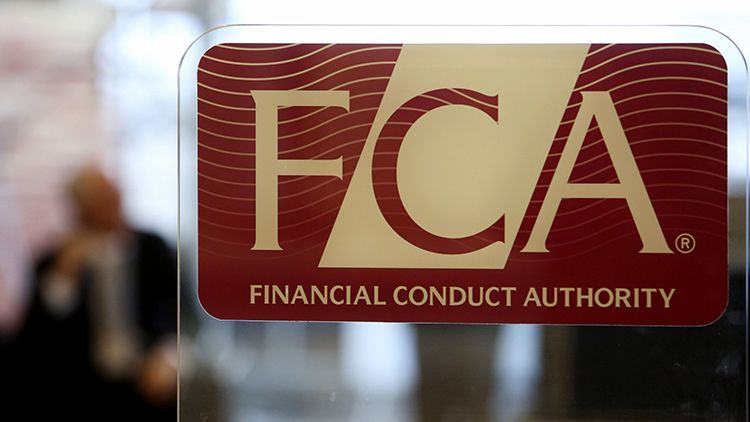 A logo in the reception area of the headquarters of the Financial Conduct Authority