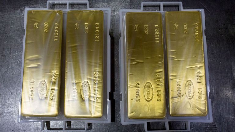 Gold ingots sit at the Uralelectromed Copper Refinery, operated by Ural Mining and Metallurgical Co., in Verkhnyaya Pyshma, Russia, on July 30, 2020.