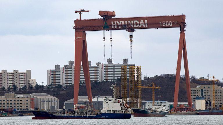 Ships under construction at a Hyundai Heavy Industries Co. shipyard in Ulsan, South Korea