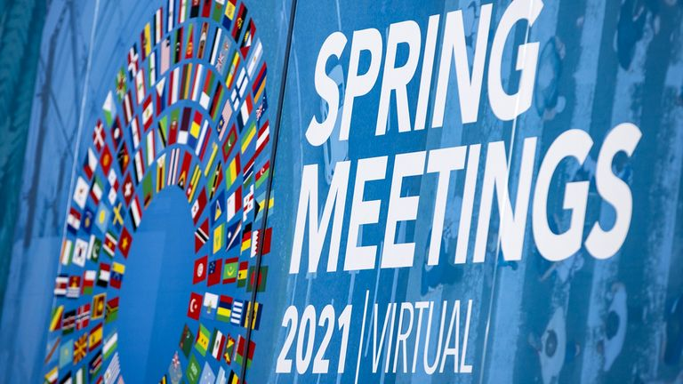 International Monetary Fund and World Bank spring meetings signage at the IMF headquarters in Washington