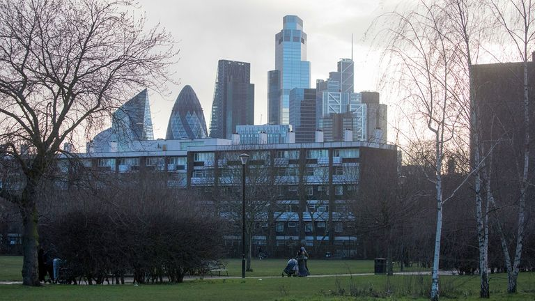 Skyscrapers in the City of London square mile financial district in London Feb. 18, 2021
