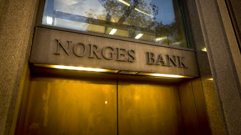 A sign sits on a doorway of the Norges Bank building in Oslo, Norway, on Feb. 5, 2019