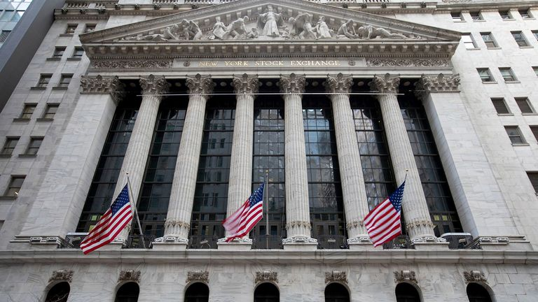 American flags outside the New York Stock Exchange