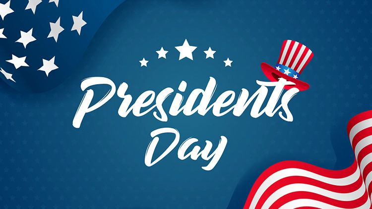 Presidents Day illustration. Text with uncle Sam's hat and USA flag waving on blue star pattern background