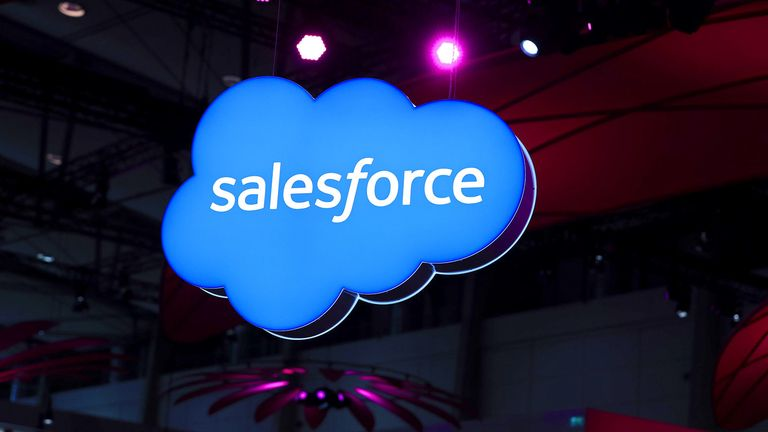 A Salesforce.com logo hangs at the CeBIT 2017 tech fair in Hannover, Germany