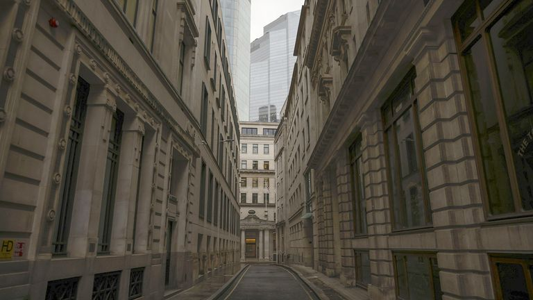 An empty street in the square mile financial district of the City of London