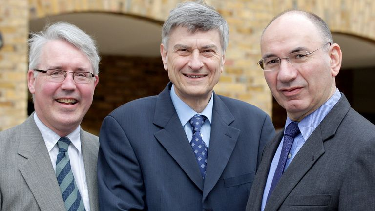 From left, Mike Staunton, Paul Marsh and Elroy Dimson, co-winners of the Bernstein Fabozzi/Jacobs Levy Awards for Best Article for 2021