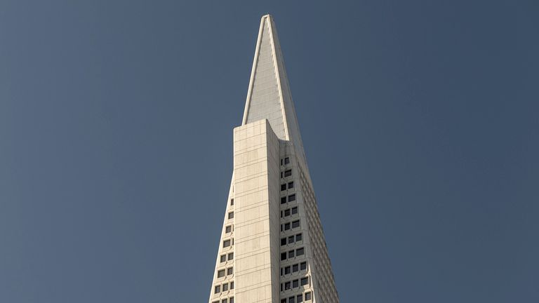 The top of the Transamerica pyramid building in San Francisco